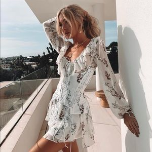 NWT For Love & Lemons Lillie floral corset dress M